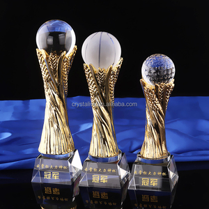 Gold-plated resin football soccer trophies with crystal ball