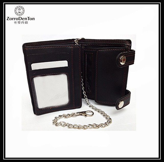 RFID Blocking Black Men's Gents Quality Wallet Soft Pu Leather Purse With Chain