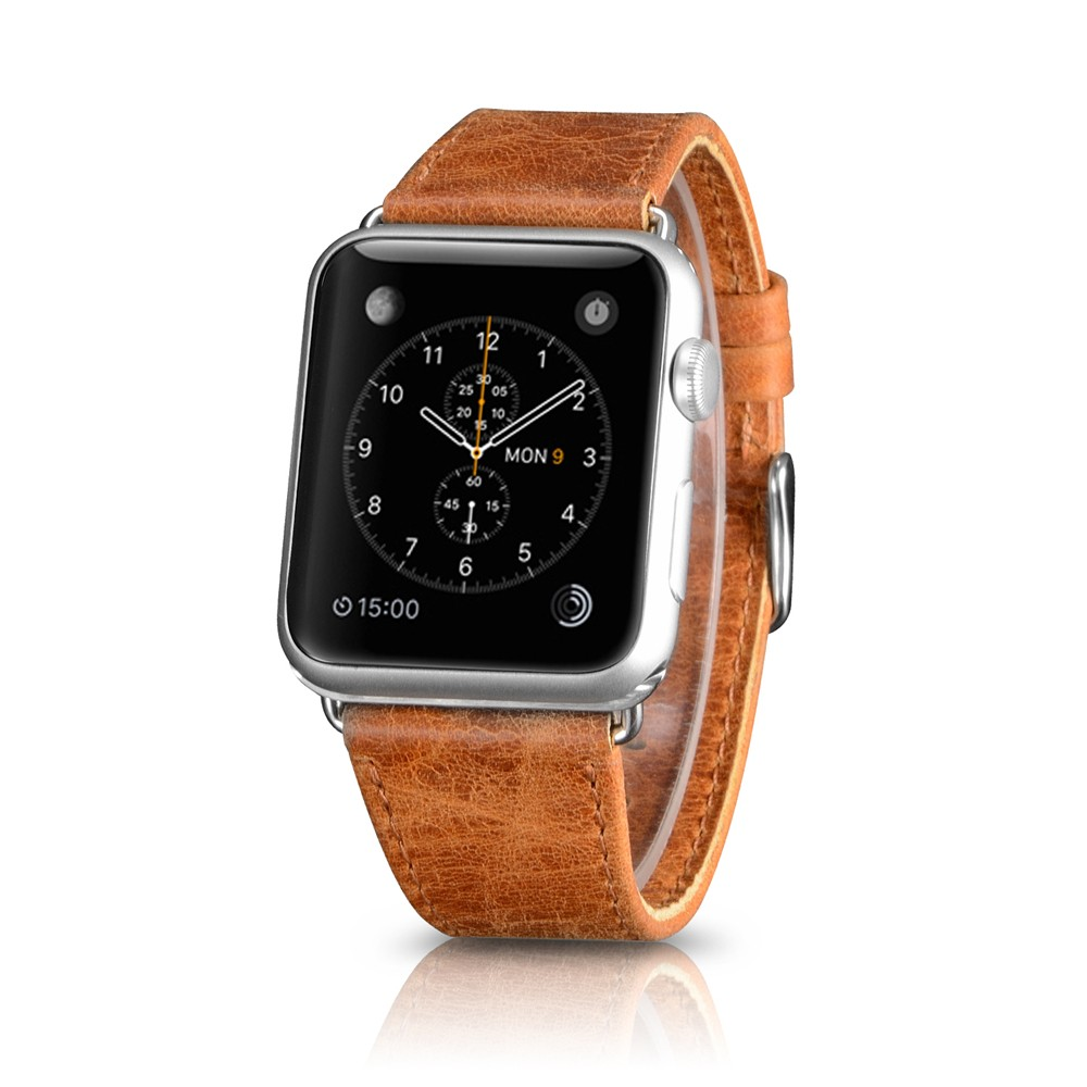 custom logo genuine leather strap for apple watch42mm/38mm