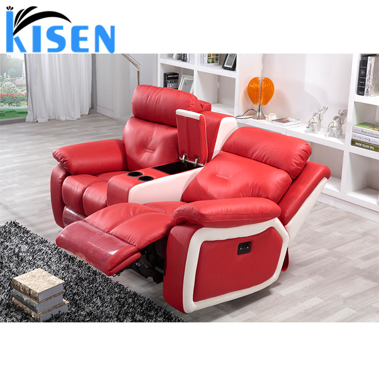 Red Leather Two Seater Recliner Sofa