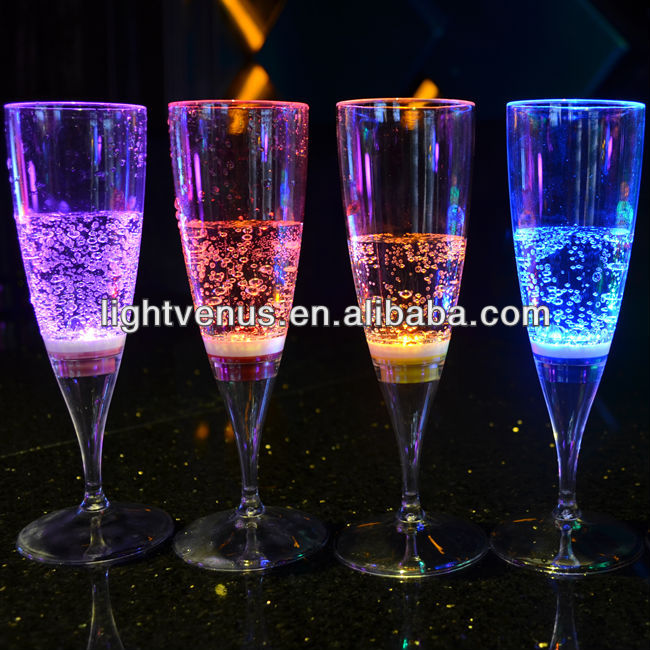 Factory sale illuminated liquid active LED Champagne flute