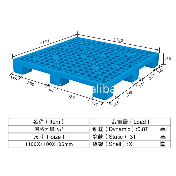 High quality custom stackable flat top plastic packaging pallet 1100*1100*130 Fashionable lightest