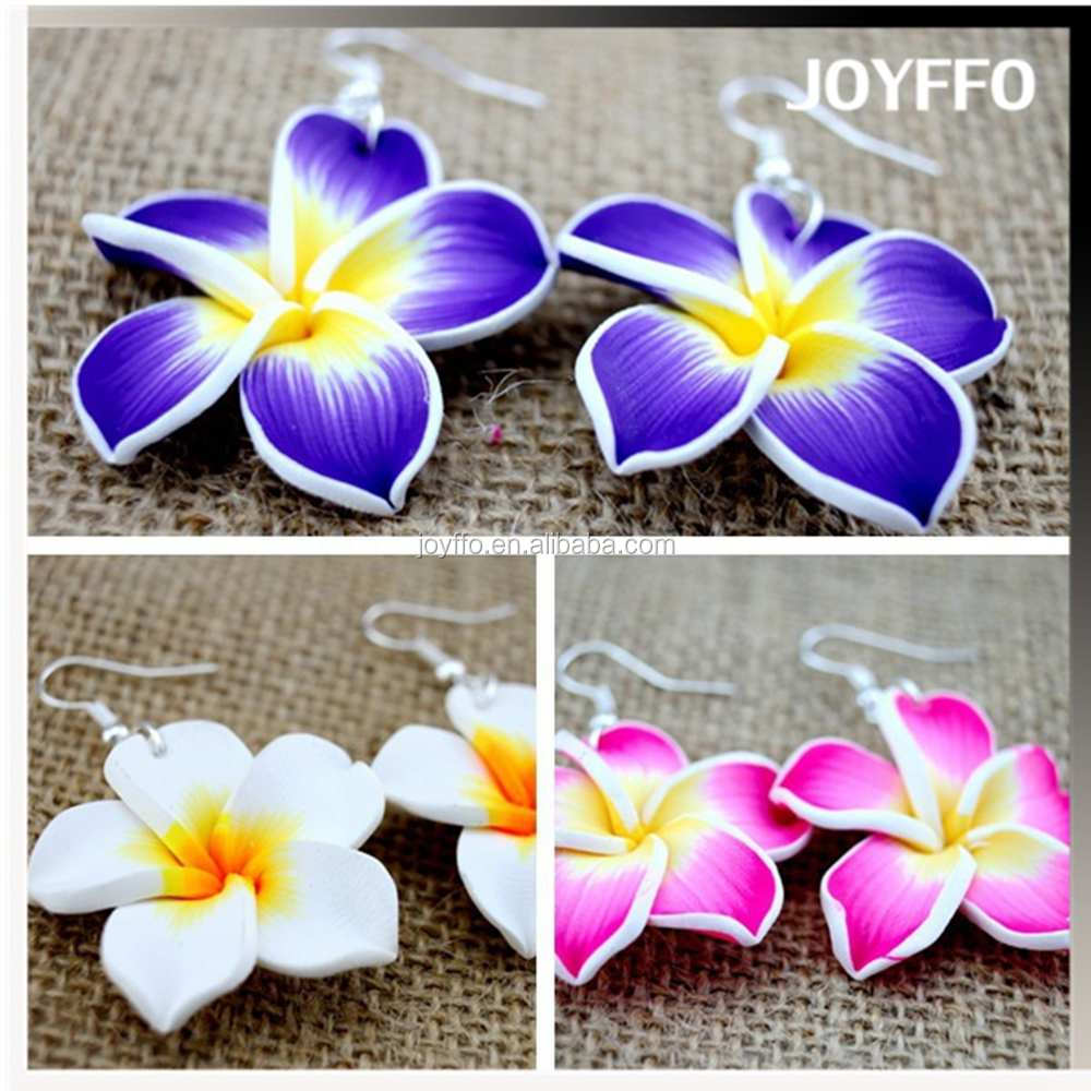 3HY-002 Exaggerated Handmade Fimo Polymer Clay Flower Charm Earrings