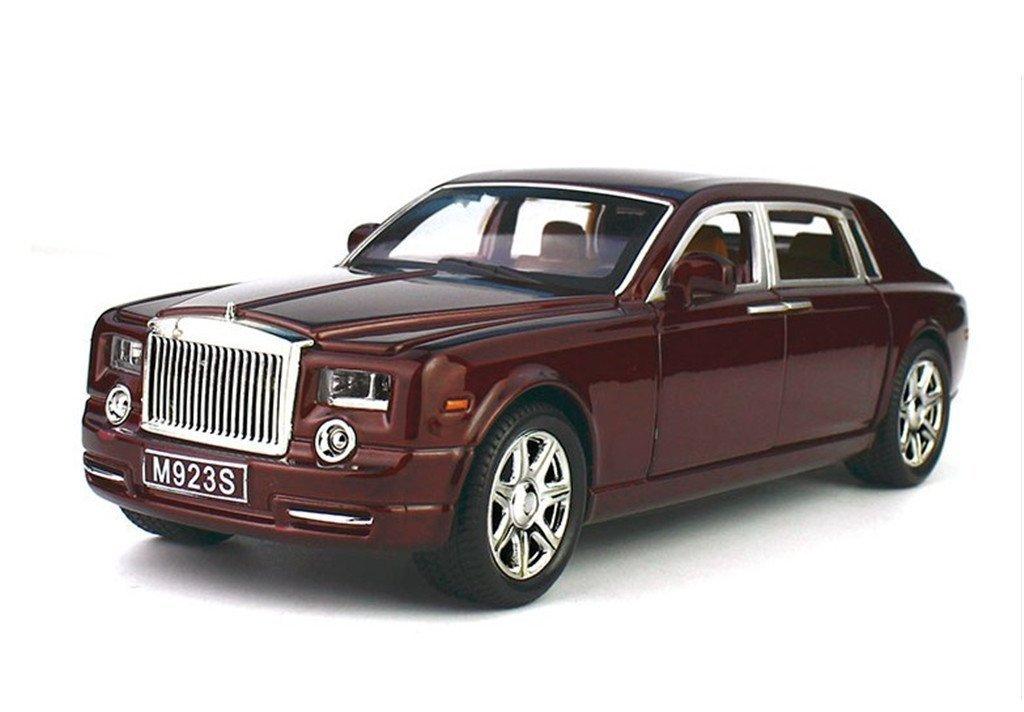 Greshare Model car, 1:24 Rolls-Royce Phantom Diecast Sound & Light & Pull Back Model Toy Car Wine Red New in Box