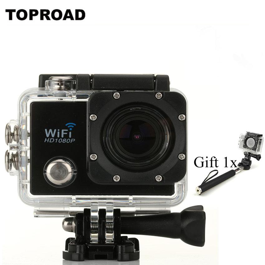 Водонепроницаемый Действий Камеры WIFI Дайвинг 30 М Спорт HD DV Камеры 2 LCD 1080 P 170 Градусов Лыжи Восхождение Спорта Cam + Монопод