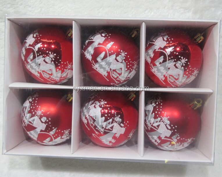 Decorative Red Painted plastic christmas ball