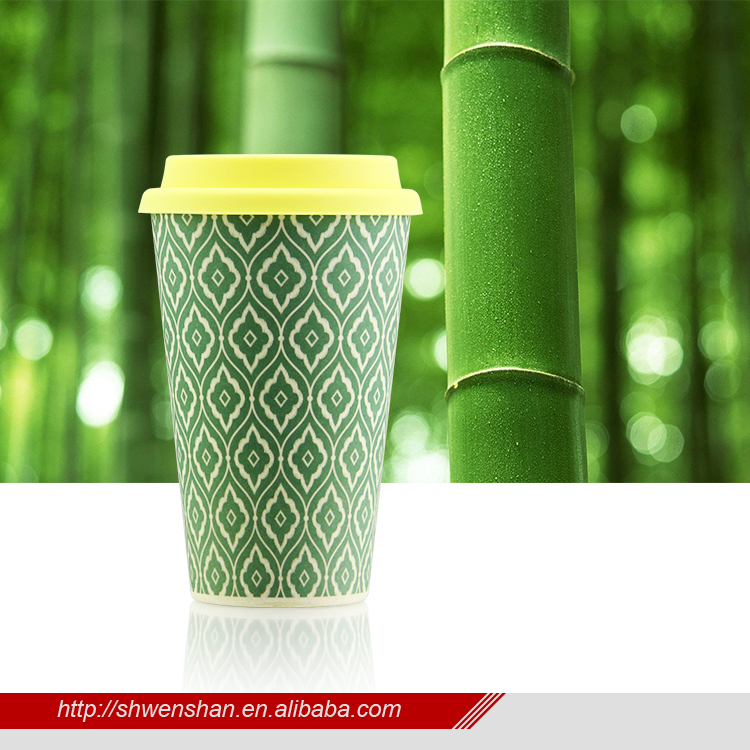 2018 High quality 400ml travelling bamboo fibre coffee cup with silicone lid