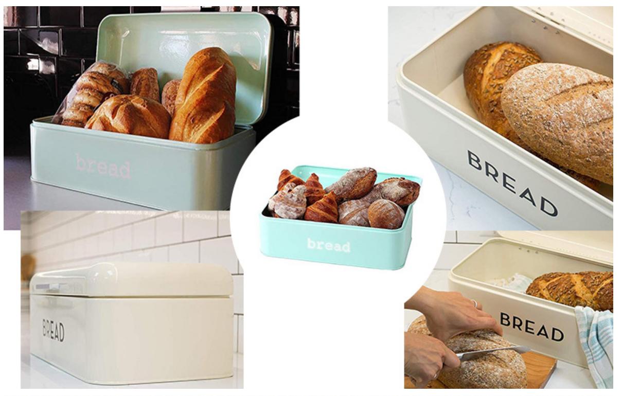 Hot-Selling Colorful Powder Coating Metal Storage Box Food Bread Bin