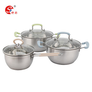 3pcs Stainless Steel Cookware Casserole Cooking Pot Set with Glass Lid with Silicone Handle