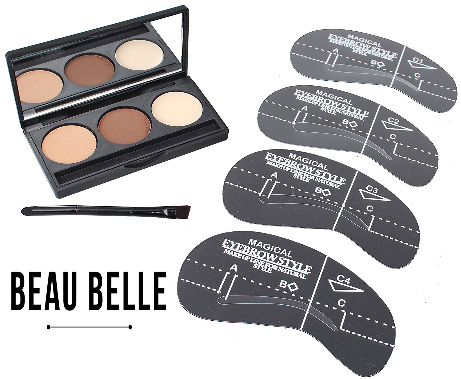 Beau Belle Eyebrow Kit - Eyebrow Stencil - Eyebrow Shaper - Brow Kit - Brow Stencil - Brow Shaper - Eyebrow Stencil Kit - Eyebrow Stencil Template - Eyebrow Stencils Eyebrows Shape - Eyebrow Stencil Kit Shaping Tool