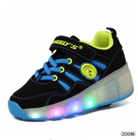 Single wheel roller shoes with led light for adults ,2017 new style factory wholesale sport casual led light shoes