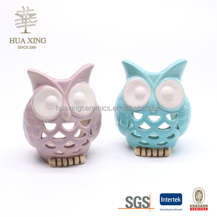 ceramic Small owl glazed candlestick,hollow out candle holders