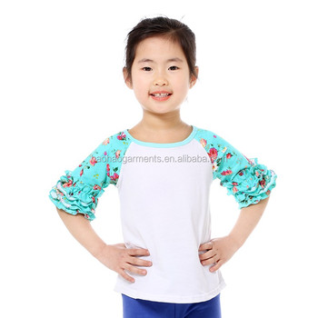 mint floral half sleeve ruffled icing raglan blank children girls shirts tops