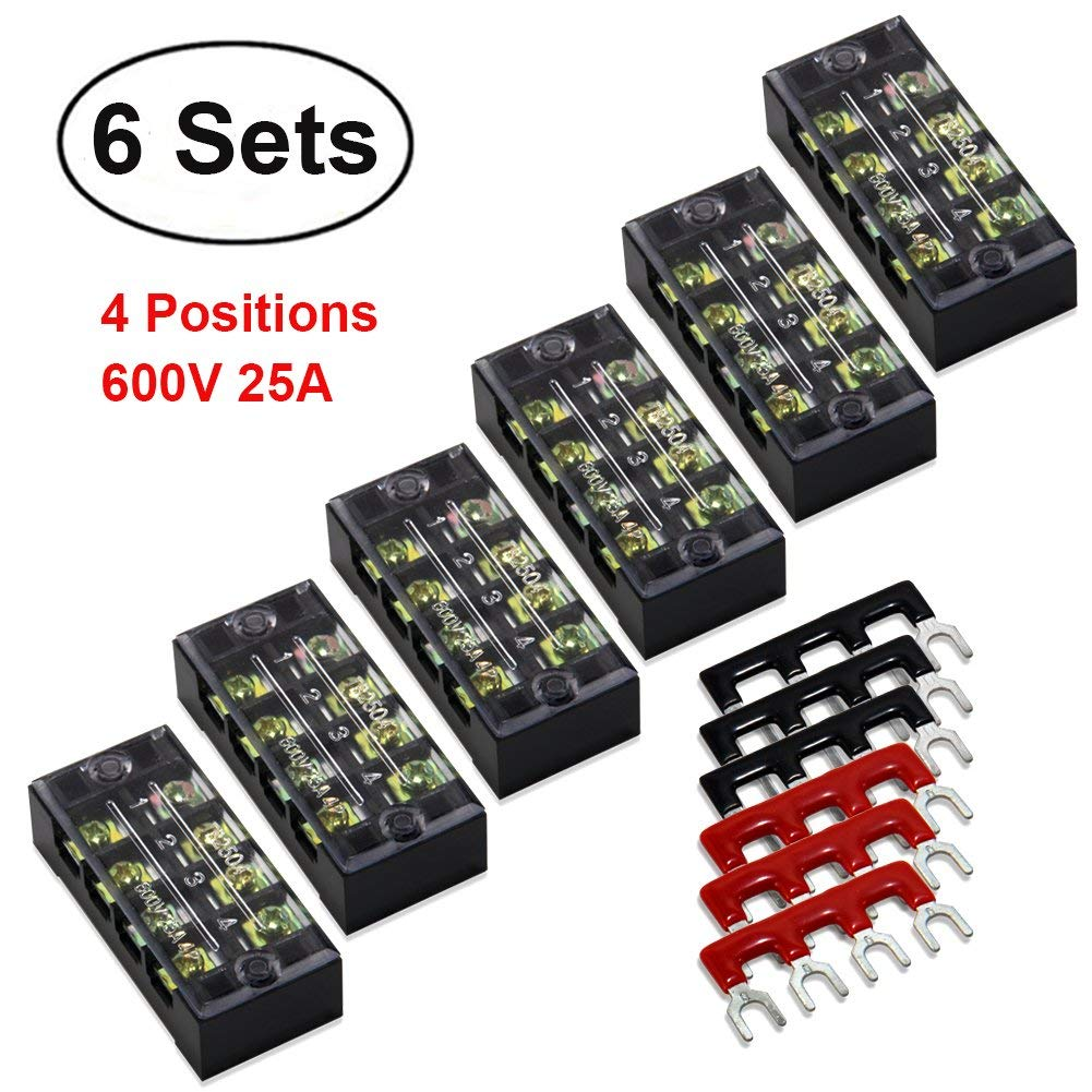 12pcs(6 Sets) Terminal/Barrier Strips - 6pcs 4 Positions 600V 25A Dual Row Screw Terminal Blocks with Cover + 6pcs 400V 25A 4 Positions Pre-Insulated Terminal Barrier Strip (Black/Red) by MILAPEAK