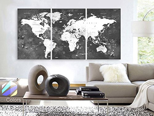 "Original by BoxColors LARGE 30""x 60"" 3 Panels 30""x20"" Ea Art Canvas Print Watercolor Map World countries cities Push Pin Travel Wall color Black White Gray decor Home interior (framed 1.5"" depth)"