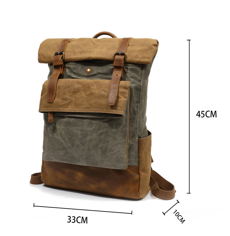 Vintage water proof retro leisure style unisex cycling waxed canvas leather outdoor backpack rucksack bag