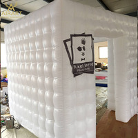 two doors inflatable photo booth with logo printed for commercial advertising