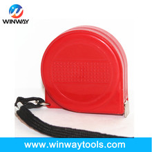 Hot sale round red steel tape measure/ New ABS case without brake durability measuring tape 2m nylon clip