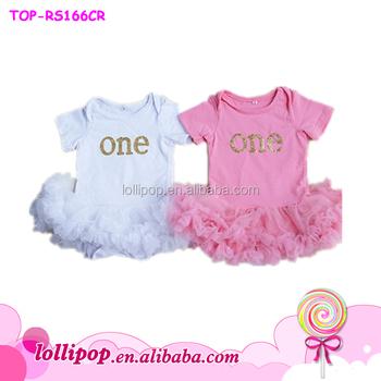 d46a4629c6b First Birthday white pink tutu dress- One tutu dress Gold Glitter Baby  chiffon Bodysuit
