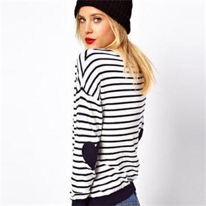Polo женщины свитера бренд влюбленность в форме сердца заплатка полоска трикотаж пуловер дамы свитер рубашка