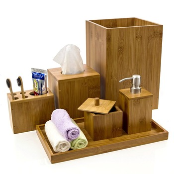 Modern Cheap Bamboo Bathroom Vanity Accessories Set of 6 Pieces Include Toothbrush Holder