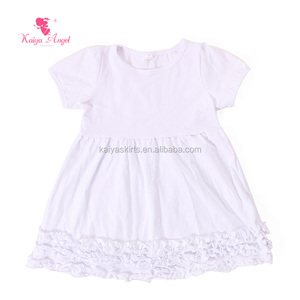Baby cotton short white dress boutique clothing girl outfits with ruffles pure color princess style boutique for kids