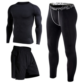 3- PIECE SUIT SPORT WEAR SET COMPRESSION GYM WEAR SPORTS MENS SPORTS SUIT TRACKSUITS FOR FITNESS YOGA WEAR