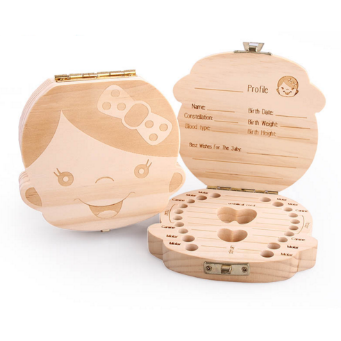 Wooden Baby Tooth Box organizer Storage Packaging Boxes Milk Tooth Box