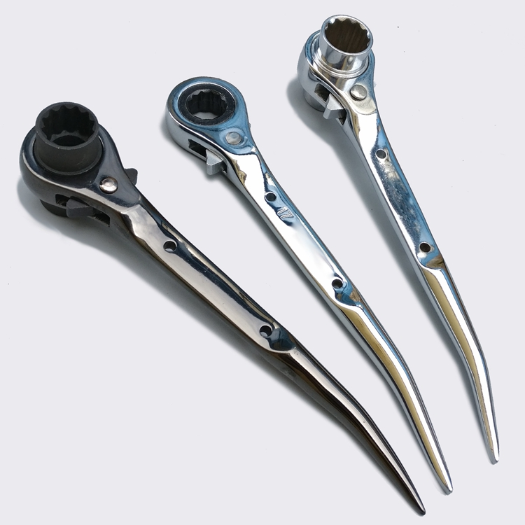 Light Weight Two Way Reversible Double Ratchet socket Wrench with Bent Handle
