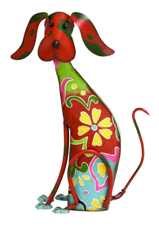 """Benzara Adorable Multicolored Iron Dog Garden and Lawn Decor, 17"""" H x 12"""" W"""