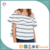 designer elegant t shirt fashion off shoulder design stripe t shirt