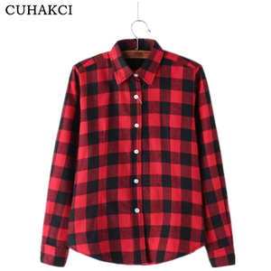 Classical Single Breasted Cotton Shirt South Korean Comfortable Lapels Long Sleeve Plaid Shirt Casual