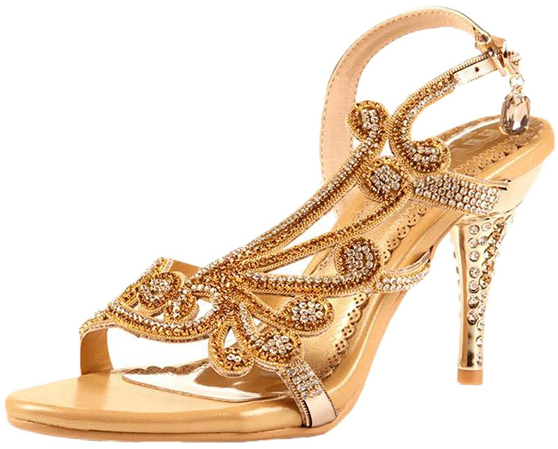 f101cd55829 Get Quotations · Littleboutique Crystal Studs Sandal Heels Summer Shoes  Evening Sandals Wedding Dress Strappy Shoes