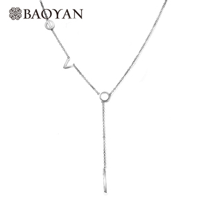 Baoyan Simple Design Gold Plated L O V E Love Letter Chain Necklace Stainless Steel Jewelry