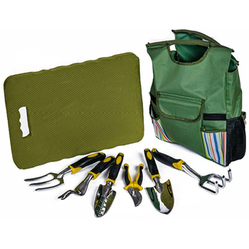 Complete Outdoor Garden Bag Tool Set Including Extra-Large Kneeling Mat and Gardening Bag