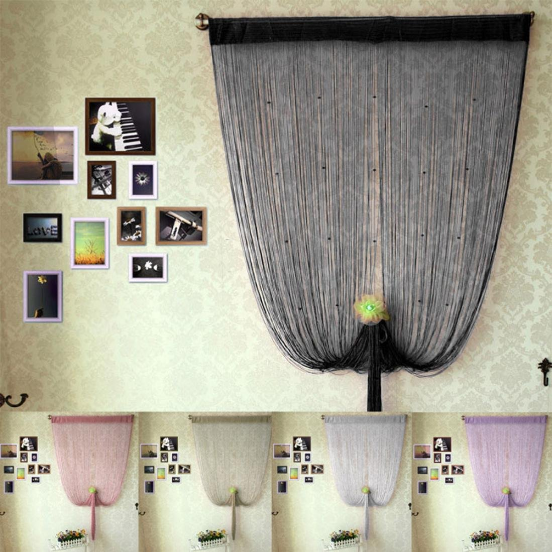Get Quotations · FUA® 1PC 200cm X 100cm Decorative String Curtain With Beads  Door Window Panel Room Divider