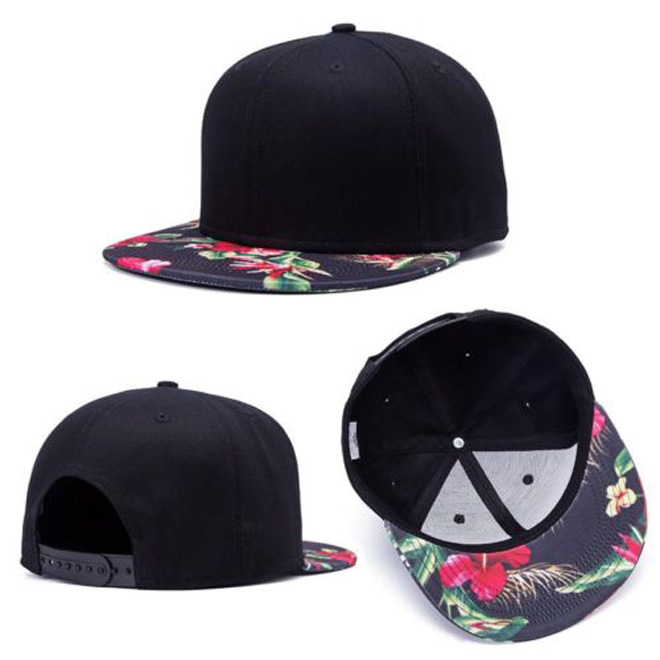 "Hip Hop Unisex Print ""Flower"" Baseball Cap Blank Wood Black Snapback Hat Custom"