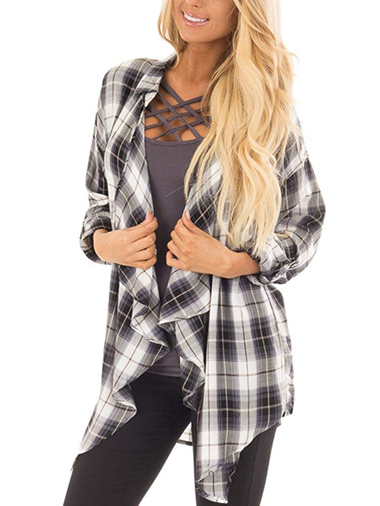 9dc63b21749 Get Quotations · Ruanyu Women s Casual Plaid Print Long Sleeve Elbow Patch  Draped Open Front Cardigan Sweater