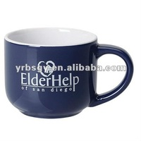 14oz Two Tone White/Blue Ceramic Mini Latte Mug with Custom Logo