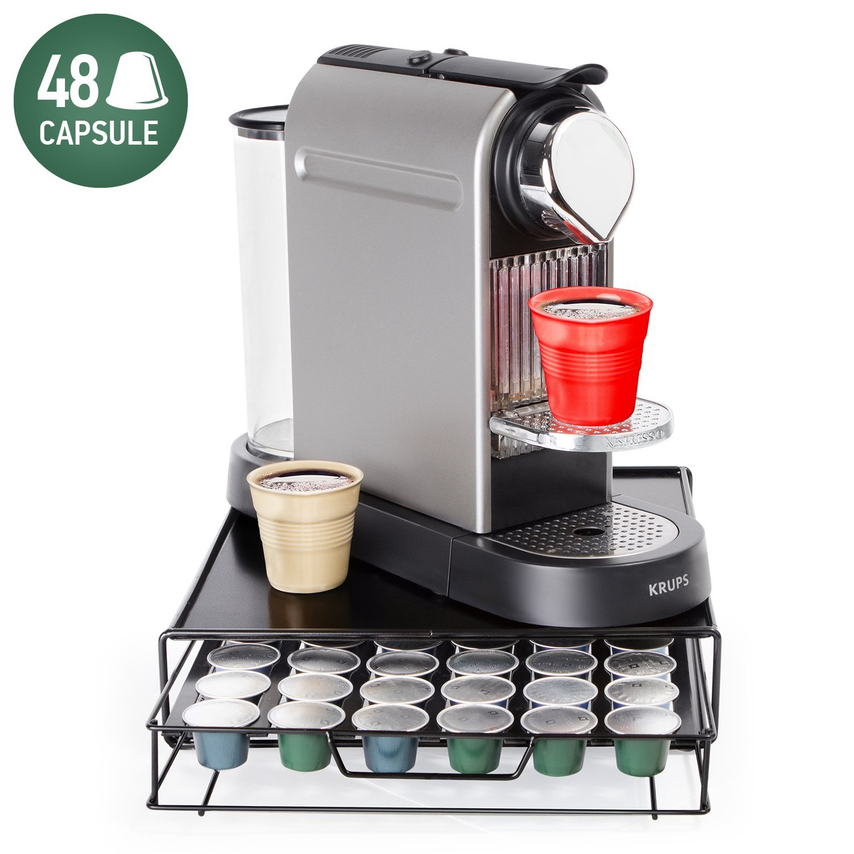 Get Quotations · Tatkraft Aim Nespresso Coffee Pod Holder 48 Capsules |  Coffee Pod Storage Drawer | Compact Design