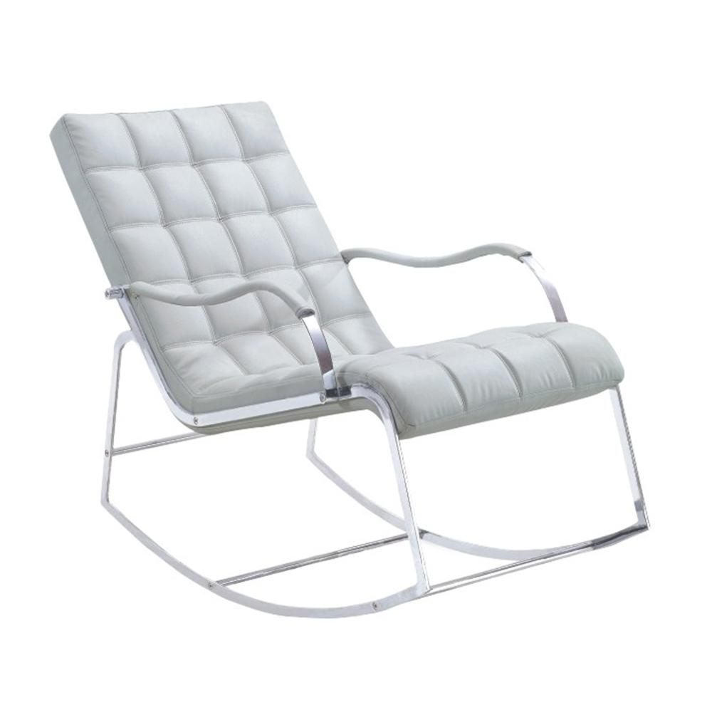 Outstanding White Leather Steel Frame Modern Lounge Armchairs Rocking Chair Buy Rocking Chair Modern Lounge Armchairs Modern Rocking Chair Product On Bralicious Painted Fabric Chair Ideas Braliciousco