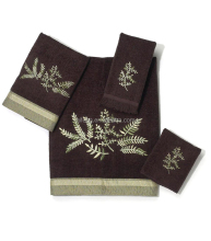 Peri towels dark brown embroidery custom pattern various bath towel set