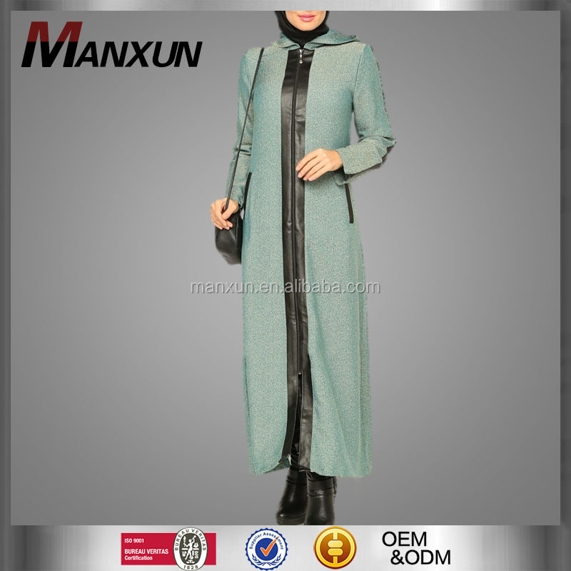 Zipper Design en OEM Service Supply Type Maxi Jurk Dameskleding Hooded Marokkaanse Moslim Abaya