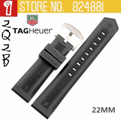 22 мм TAG силикагель ремешки, Водонепроницаемый силикон + прочный + Swiming + антиперспирантные, Черный часы ремень грм 2135