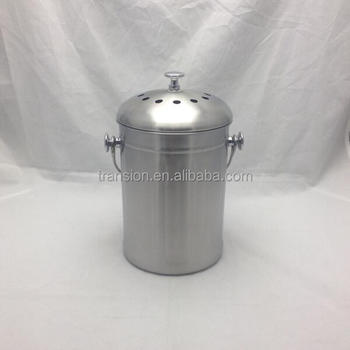 Brushed Stainless Steel Compost Pail U0026 Indoor Kitchen Scrap Collection Bin