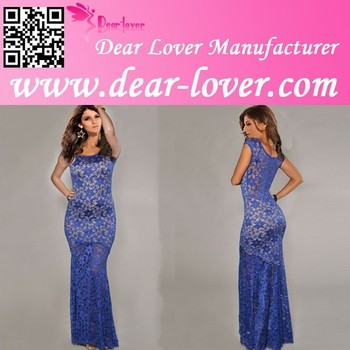 Blue Sexy Lined Long Dinner Gown Lace Evening Dress For Women ...