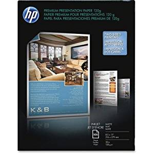 HP Premium Presentation Paper - For Inkjet Print - Letter - 8.50quot; x 11quot; - 120 g/msup2; - Matte, Smooth - 100 Sheet - Bright White