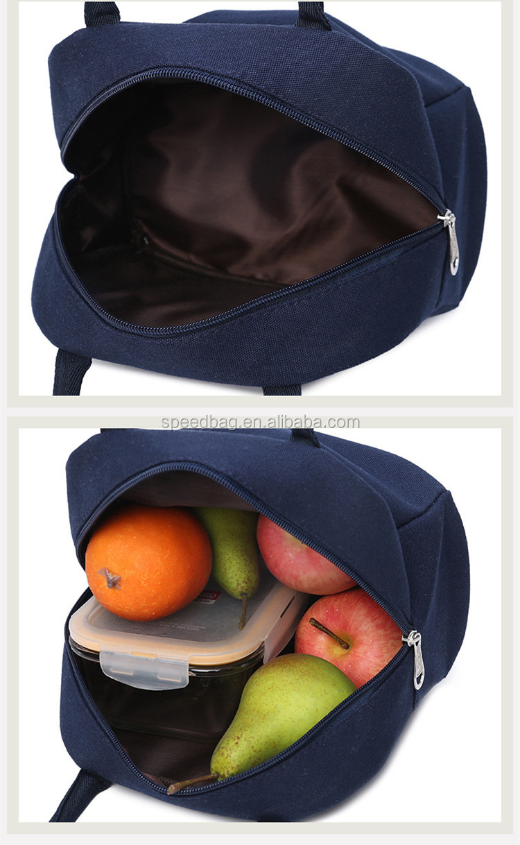 Durable And Reusable canvas food storage bag lunch bag for men