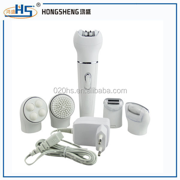 OEM 5 in 1 professional electric Hair Removal Lady shaver Facial Cleansing Brush and Pedicure Hard Skin Remover