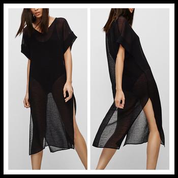 Plus Size Fashion Sheer Side Slit Design Kurti Black Chiffon Women